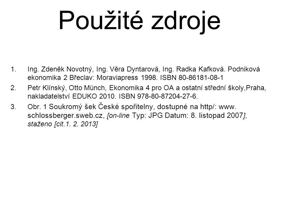 1.Ing. Zdeněk Novotný, Ing. Věra Dyntarová, Ing. Radka Kafková. Podniková ekonomika 2 Břeclav: Moraviapress 1998. ISBN 80-86181-08-1 2.Petr Klínský, O
