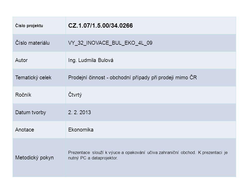 Číslo projektu CZ.1.07/1.5.00/34.0266 Číslo materiáluVY_32_INOVACE_BUL_EKO_4L_09 AutorIng. Ludmila Bulová Tematický celekProdejní činnost - obchodní p