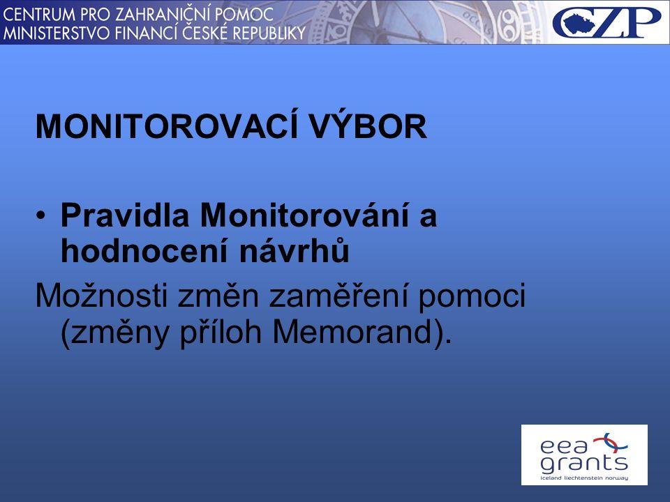 MONITOROVACÍ VÝBOR Pravidla Monitorování a hodnocení návrhů Možnosti změn zaměření pomoci (změny příloh Memorand).
