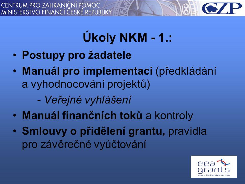 Postupy pro žadatele Manuál pro implementaci (předkládání a vyhodnocování projektů) - Veřejné vyhlášení Manuál finančních toků a kontroly Smlouvy o přidělení grantu, pravidla pro závěrečné vyúčtování Úkoly NKM - 1.: