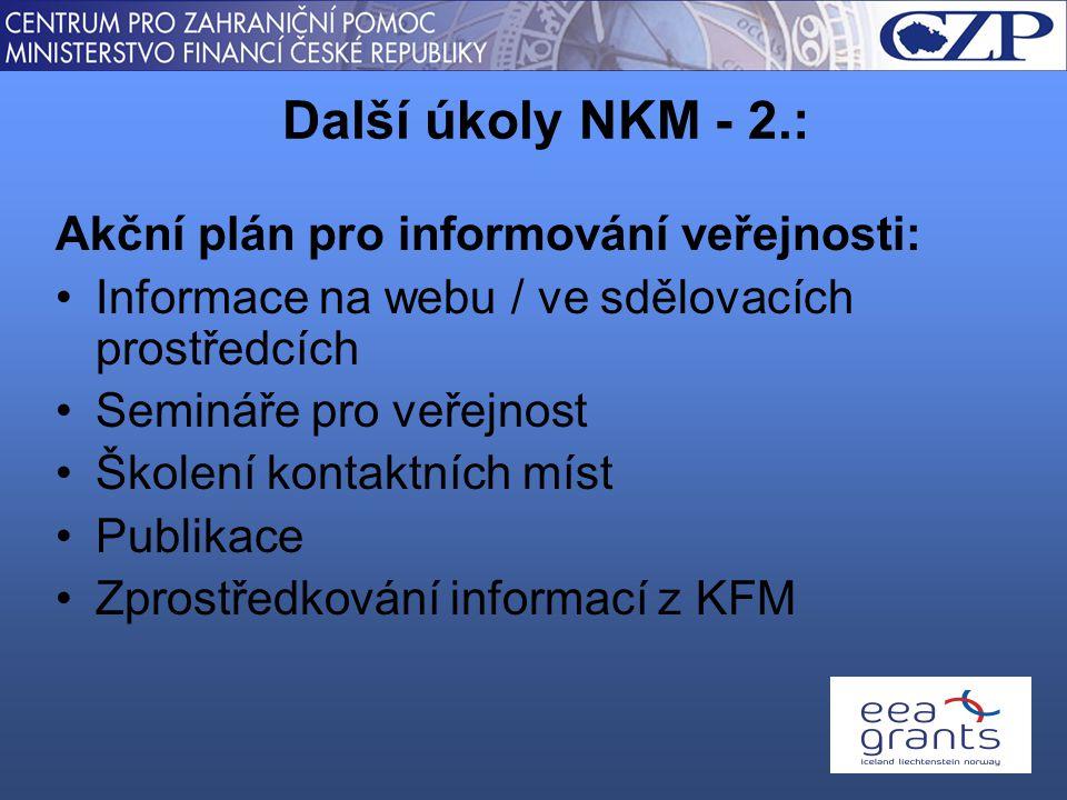 Akční plán pro informování veřejnosti: Informace na webu / ve sdělovacích prostředcích Semináře pro veřejnost Školení kontaktních míst Publikace Zprostředkování informací z KFM Další úkoly NKM - 2.:
