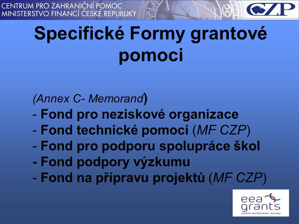 Specifické Formy grantové pomoci (Annex C- Memorand ) - Fond pro neziskové organizace - Fond technické pomoci (MF CZP) - Fond pro podporu spolupráce škol - Fond podpory výzkumu - Fond na přípravu projektů (MF CZP)