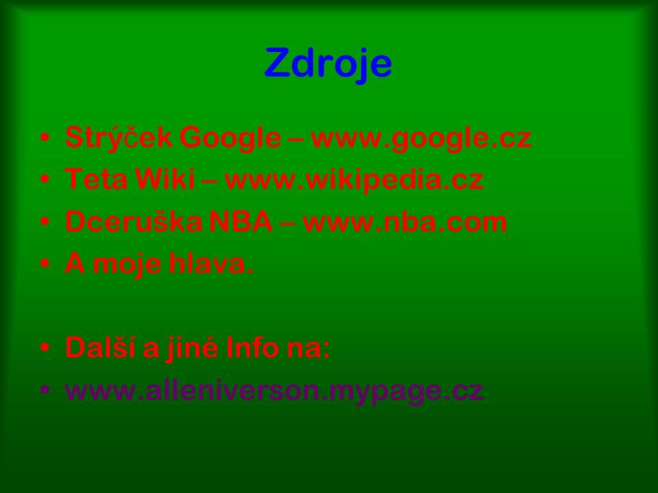 Zdroje Strý č ek Google – www.google.cz Teta Wiki – www.wikipedia.cz Dceruška NBA – www.nba.com A moje hlava.