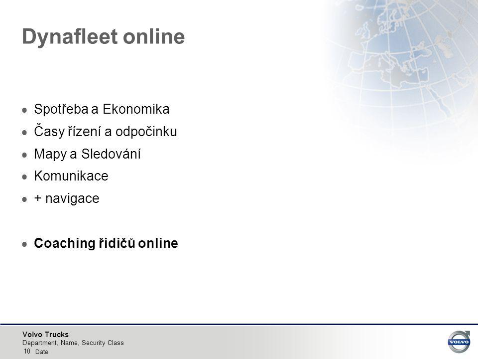 Volvo Trucks 10 Department, Name, Security Class Date Dynafleet online  Spotřeba a Ekonomika  Časy řízení a odpočinku  Mapy a Sledování  Komunikace  + navigace  Coaching řidičů online