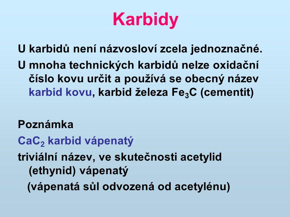 Karbidy U karbidů není názvosloví zcela jednoznačné. U mnoha technických karbidů nelze oxidační číslo kovu určit a používá se obecný název karbid kovu