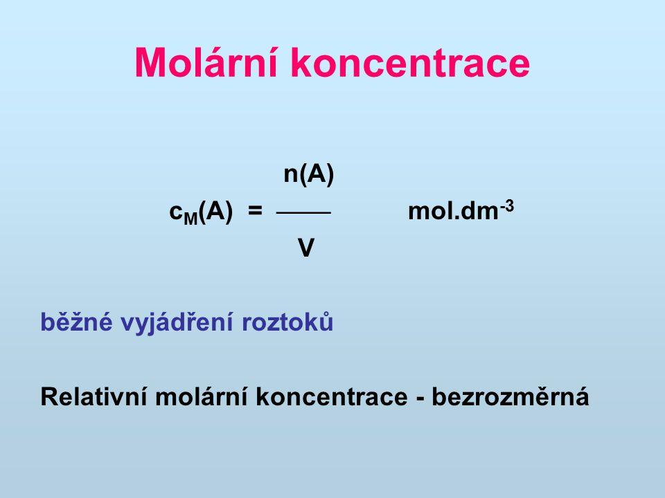 Molární koncentrace n(A) c M (A) =  mol.dm -3 V běžné vyjádření roztoků Relativní molární koncentrace - bezrozměrná