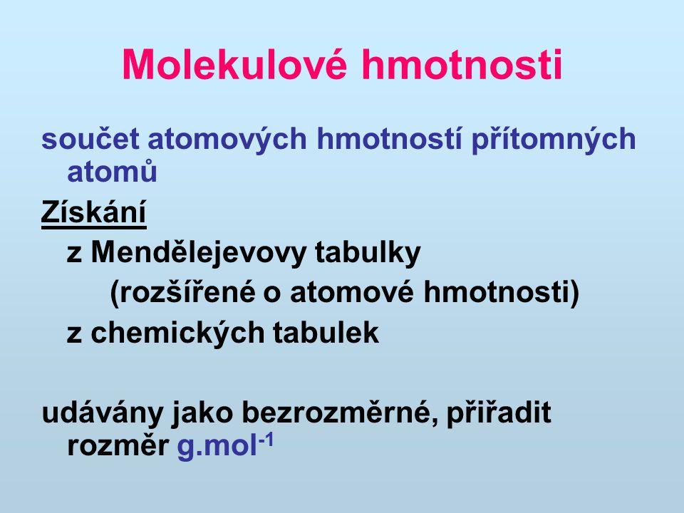 Molekulové hmotnosti součet atomových hmotností přítomných atomů Získání z Mendělejevovy tabulky (rozšířené o atomové hmotnosti) z chemických tabulek
