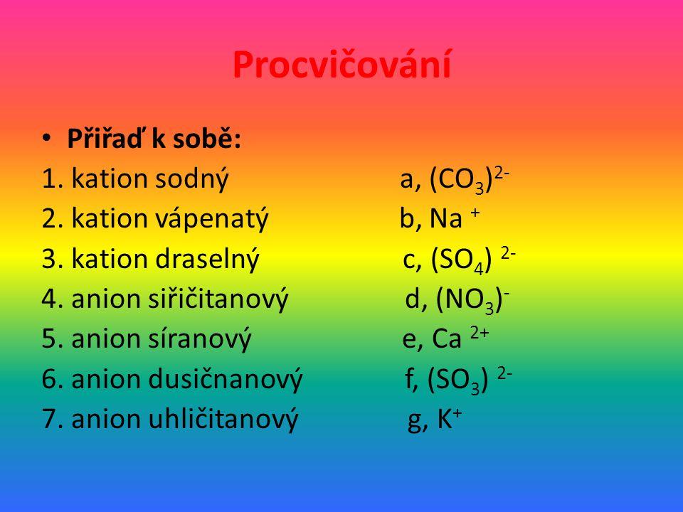 Procvičování Přiřaď k sobě: 1.kation sodný a, (CO 3 ) 2- 2.