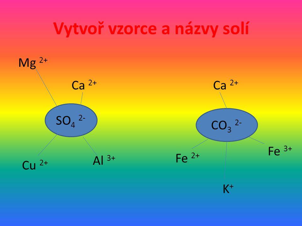 Vytvoř vzorce a názvy solí Mg 2+ SO 4 2- CO 3 2- Ca 2+ Cu 2+ Al 3+ Ca 2+ K+K+ Fe 2+ Fe 3+