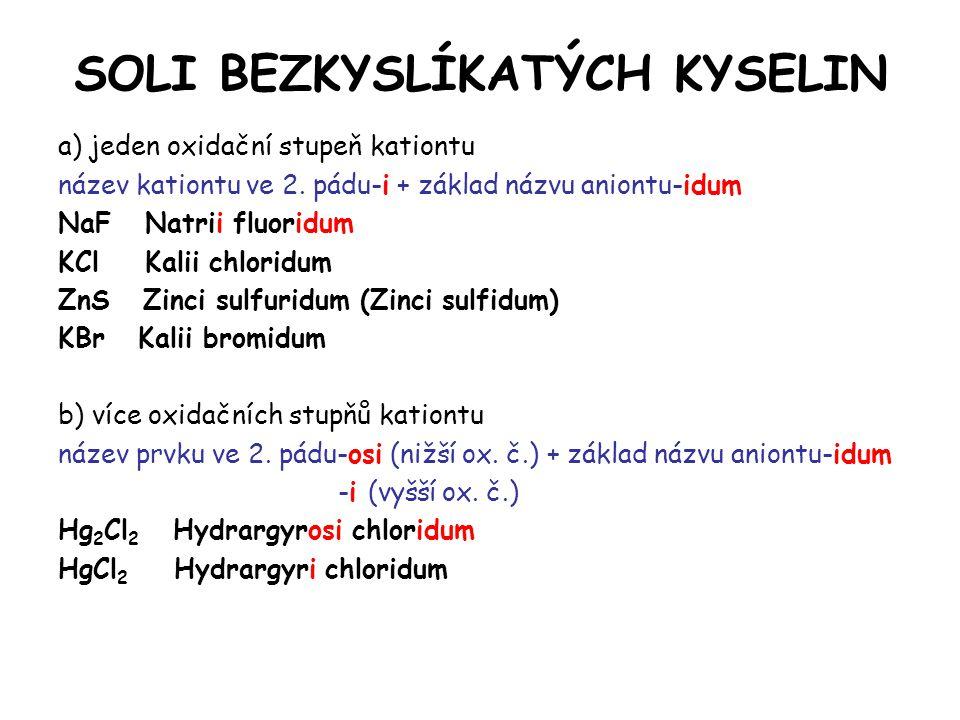SOLI BEZKYSLÍKATÝCH KYSELIN a) jeden oxidační stupeň kationtu název kationtu ve 2.
