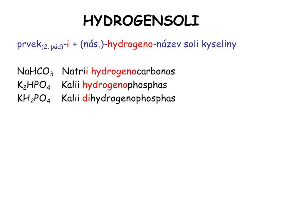 HYDROGENSOLI prvek (2. pád) -i + (nás.)-hydrogeno-název soli kyseliny NaHCO 3 Natrii hydrogenocarbonas K 2 HPO 4 Kalii hydrogenophosphas KH 2 PO 4 Kal