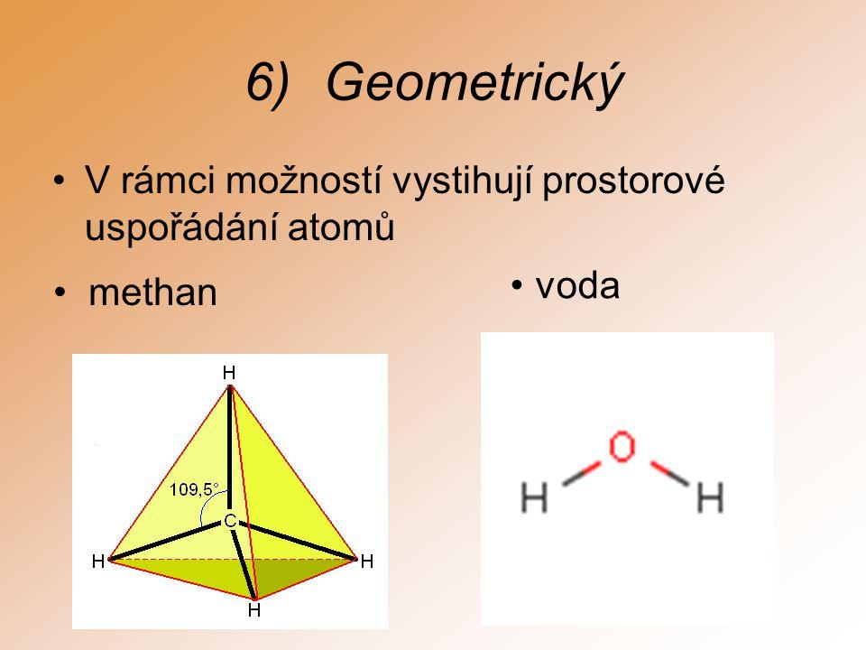 6)Geometrický V rámci možností vystihují prostorové uspořádání atomů methan voda