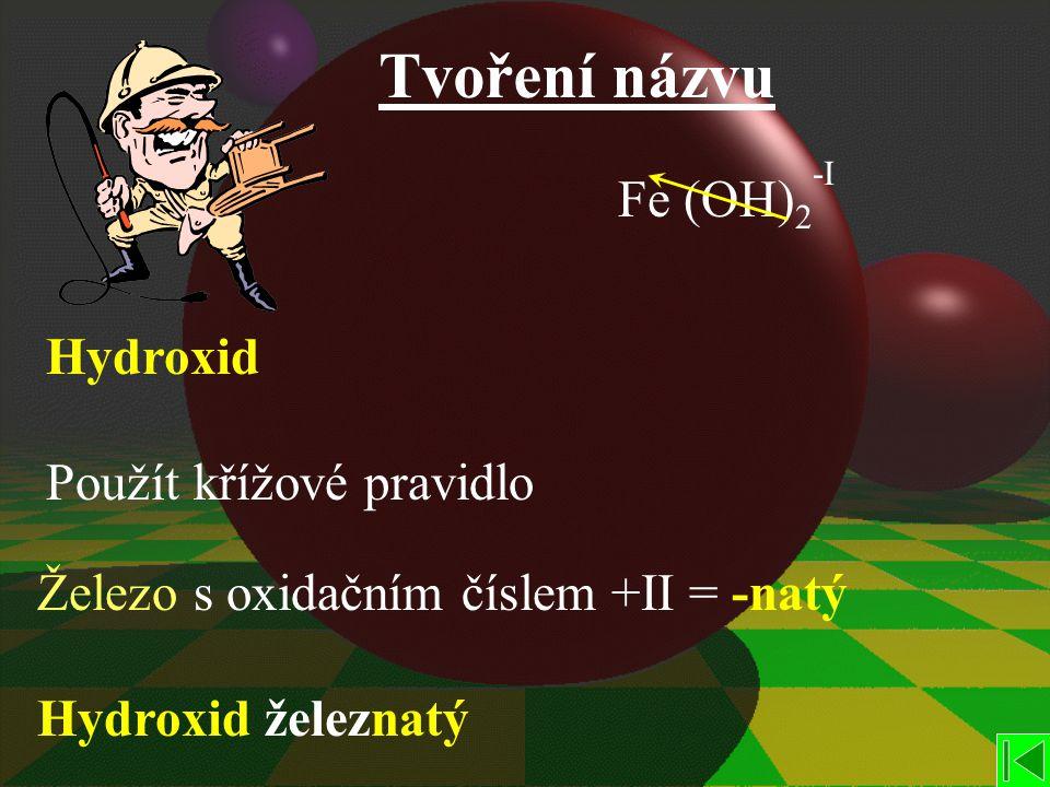 Tvoření názvu Fe (OH) 2 -I Hydroxid Použít křížové pravidlo Železo s oxidačním číslem +II = -natý Hydroxid železnatý