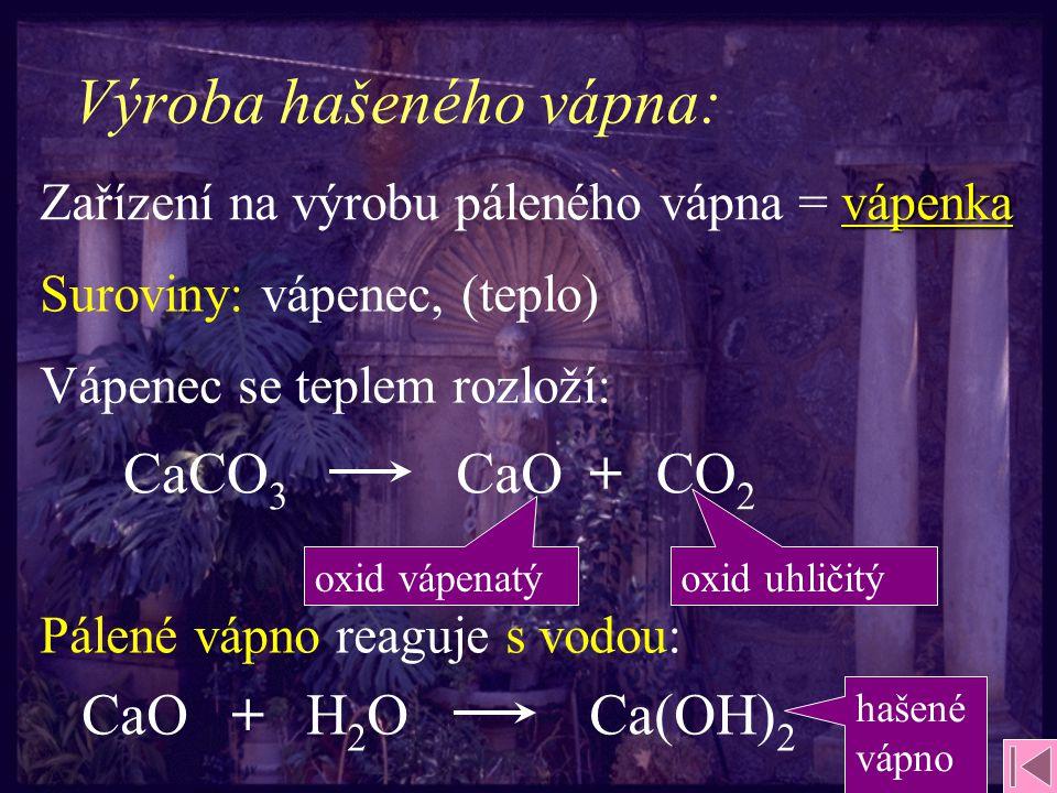 Výroba hašeného vápna: CaO H2OH2O+ Ca(OH) 2 CaOCaCO 3 + CO 2 Zařízení na výrobu páleného vápna = vápenka Suroviny: vápenec, (teplo) Vápenec se teplem rozloží: Pálené vápno reaguje s vodou: oxid vápenatýoxid uhličitý hašené vápno