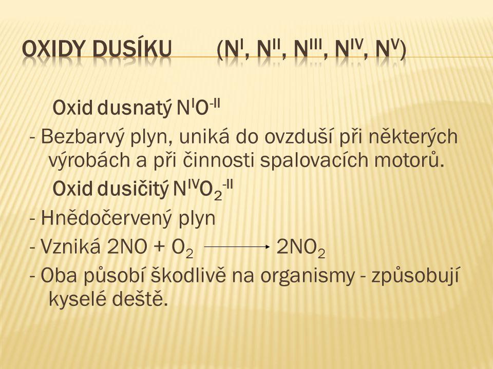 Oxid dusnatý N I O -II - Bezbarvý plyn, uniká do ovzduší při některých výrobách a při činnosti spalovacích motorů.