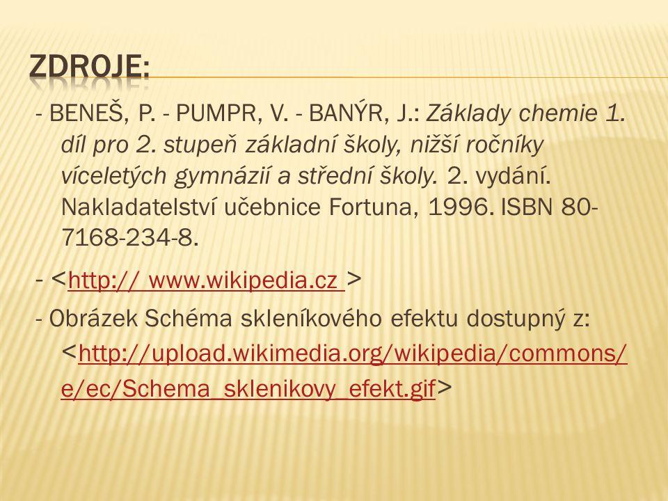 - BENEŠ, P. - PUMPR, V. - BANÝR, J.: Základy chemie 1.