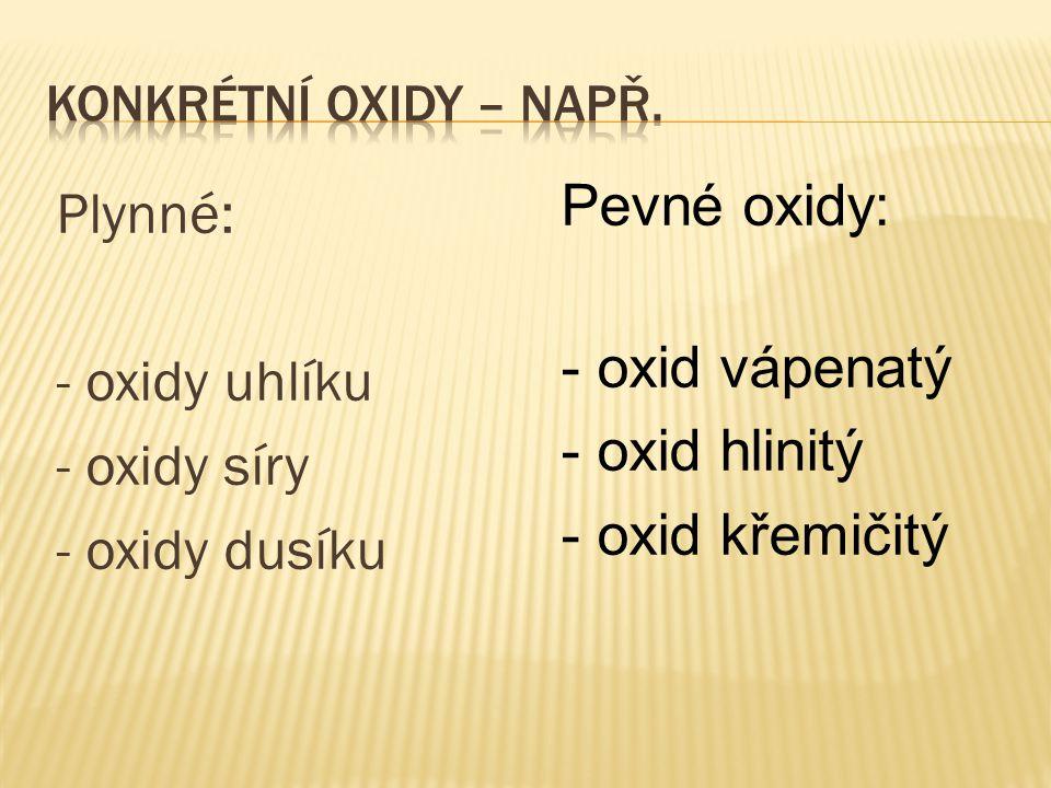 Plynné: - oxidy uhlíku - oxidy síry - oxidy dusíku Pevné oxidy: - oxid vápenatý - oxid hlinitý - oxid křemičitý