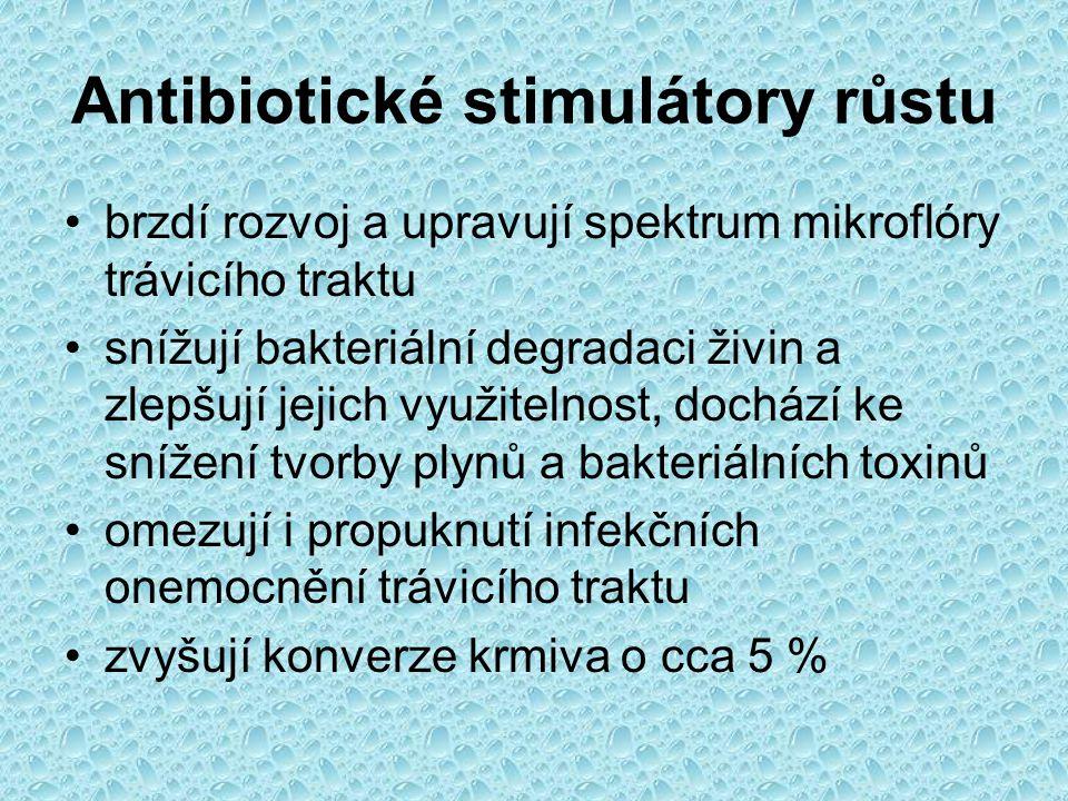 Antibiotické stimulátory růstu brzdí rozvoj a upravují spektrum mikroflóry trávicího traktu snížují bakteriální degradaci živin a zlepšují jejich využ