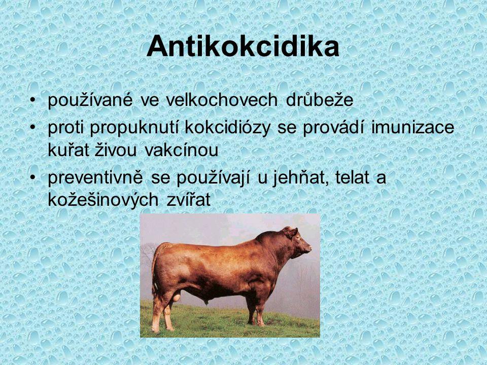 Antikokcidika používané ve velkochovech drůbeže proti propuknutí kokcidiózy se provádí imunizace kuřat živou vakcínou preventivně se používají u jehňa