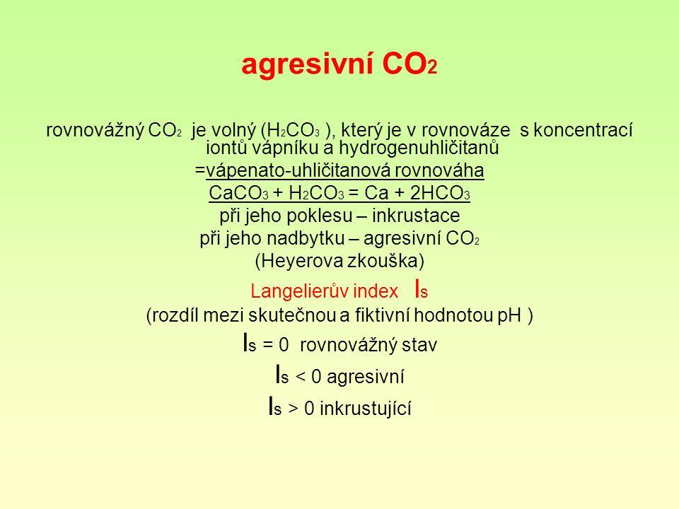 agresivní CO 2 rovnovážný CO 2 je volný (H 2 CO 3 ), který je v rovnováze s koncentrací iontů vápníku a hydrogenuhličitanů =vápenato-uhličitanová rovnováha CaCO 3 + H 2 CO 3 = Ca + 2HCO 3 při jeho poklesu – inkrustace při jeho nadbytku – agresivní CO 2 (Heyerova zkouška) Langelierův index I s (rozdíl mezi skutečnou a fiktivní hodnotou pH ) I s = 0 rovnovážný stav I s < 0 agresivní I s > 0 inkrustující