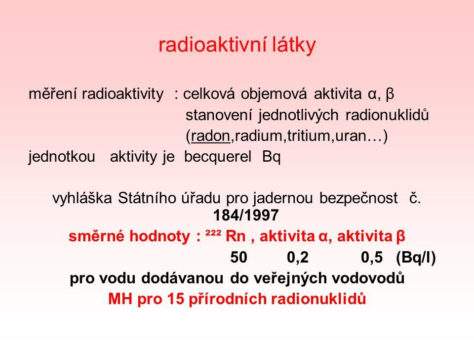 radioaktivní látky měření radioaktivity : celková objemová aktivita α, β stanovení jednotlivých radionuklidů (radon,radium,tritium,uran…) jednotkou aktivity je becquerel Bq vyhláška Státního úřadu pro jadernou bezpečnost č.