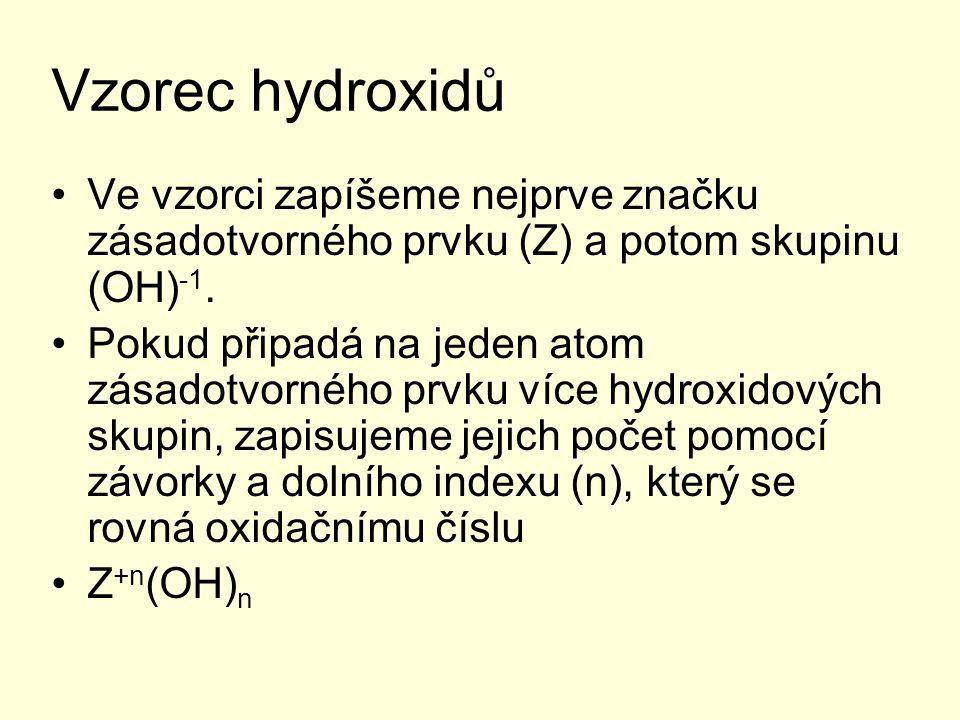 Vzorec hydroxidů Ve vzorci zapíšeme nejprve značku zásadotvorného prvku (Z) a potom skupinu (OH) -1. Pokud připadá na jeden atom zásadotvorného prvku