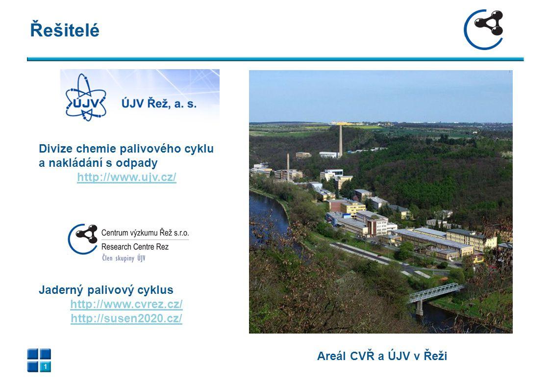 Řešitelé 1 Areál CVŘ a ÚJV v Řeži Divize chemie palivového cyklu a nakládání s odpady http://www.ujv.cz/ Jaderný palivový cyklus http://www.cvrez.cz/