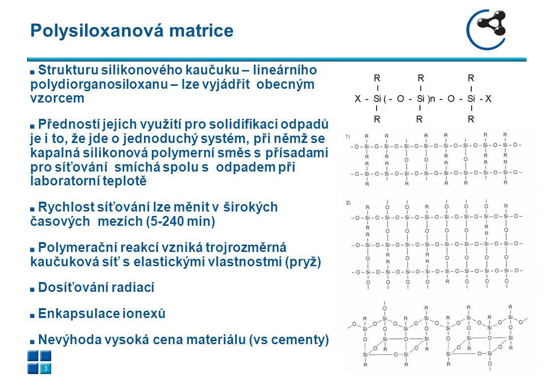 Polysiloxanová matrice 3 Strukturu silikonového kaučuku – lineárního polydiorganosiloxanu – lze vyjádřit obecným vzorcem Předností jejich využití pro