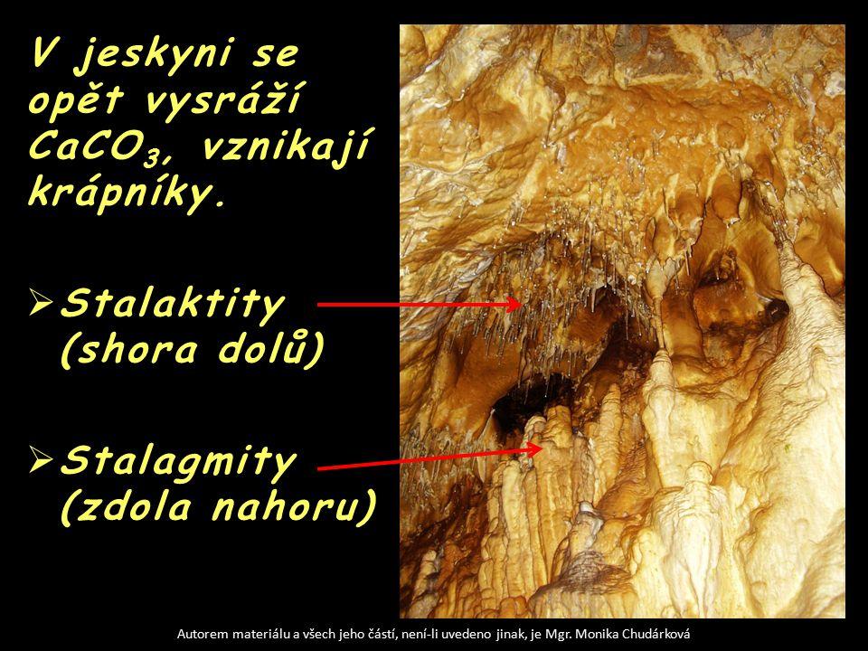V jeskyni se opět vysráží CaCO 3, vznikají krápníky.