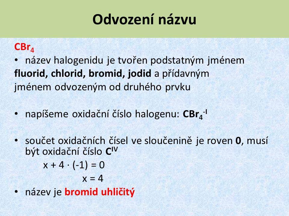 Odvození názvu CBr 4 název halogenidu je tvořen podstatným jménem fluorid, chlorid, bromid, jodid a přídavným jménem odvozeným od druhého prvku napíše
