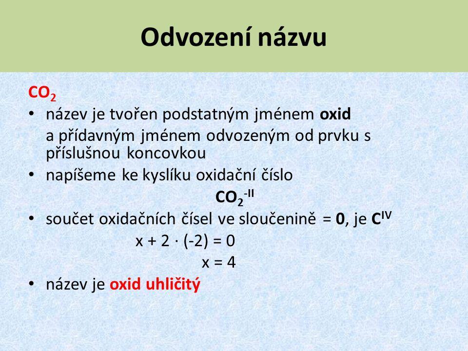 Odvození názvu CO 2 název je tvořen podstatným jménem oxid a přídavným jménem odvozeným od prvku s příslušnou koncovkou napíšeme ke kyslíku oxidační č