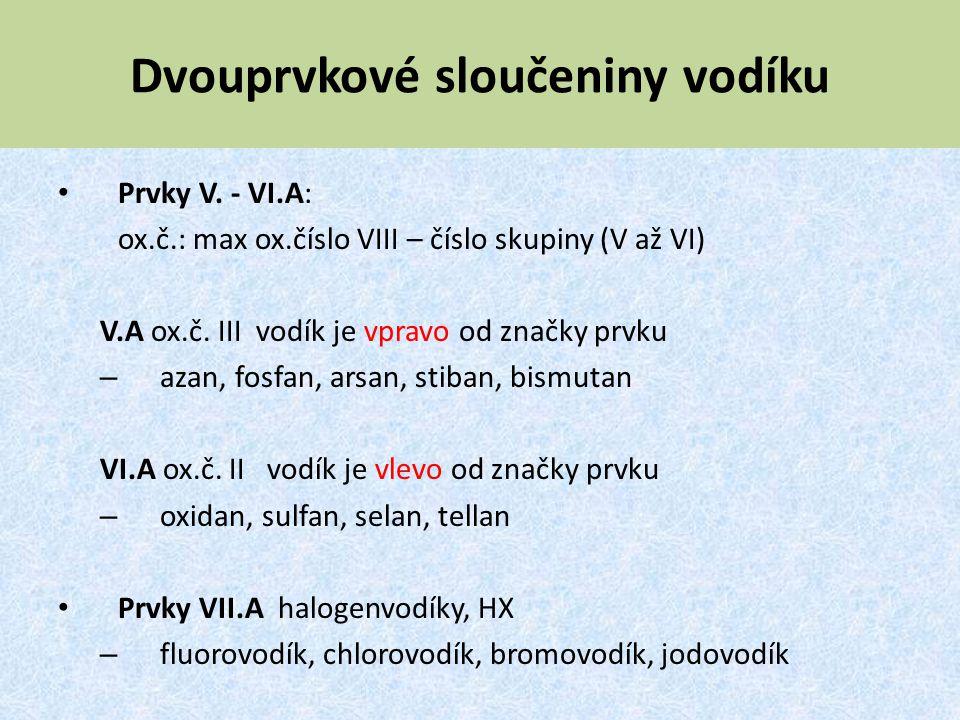 Dvouprvkové sloučeniny vodíku Prvky V. - VI.A: ox.č.: max ox.číslo VIII – číslo skupiny (V až VI) V.A ox.č. III vodík je vpravo od značky prvku – azan