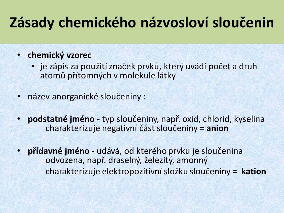 Zásady chemického názvosloví sloučenin chemický vzorec je zápis za použití značek prvků, který uvádí počet a druh atomů přítomných v molekule látky ná