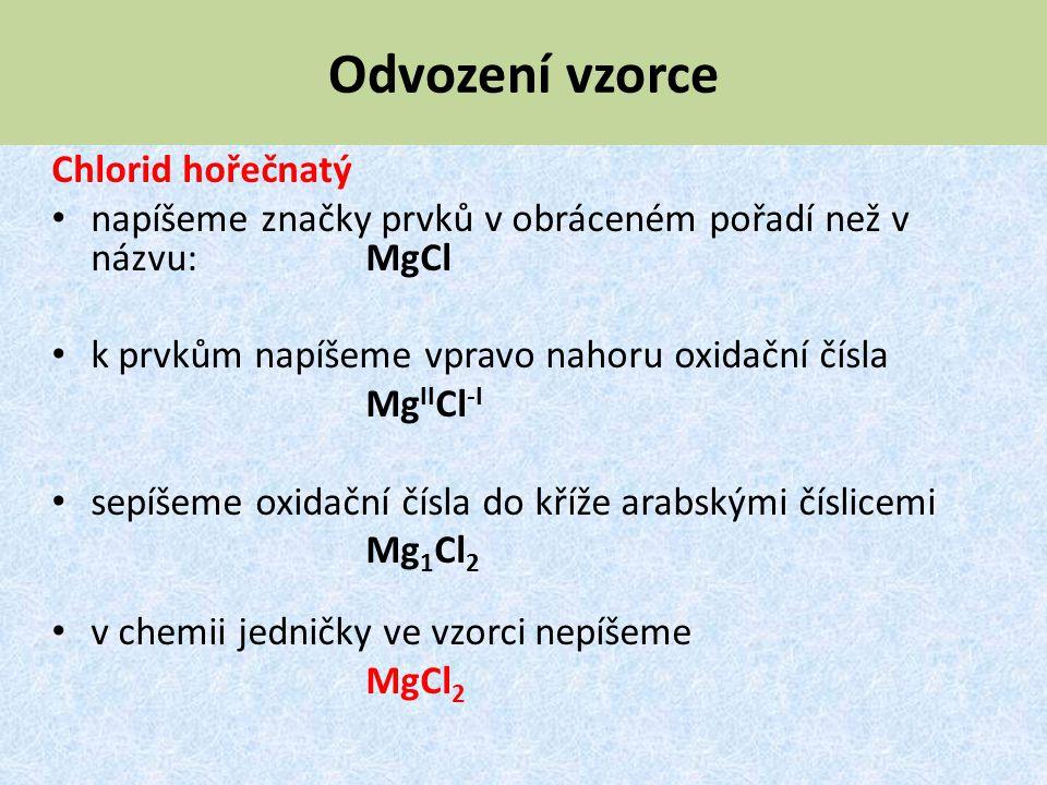 Odvození vzorce Chlorid hořečnatý napíšeme značky prvků v obráceném pořadí než v názvu: MgCl k prvkům napíšeme vpravo nahoru oxidační čísla Mg II Cl -