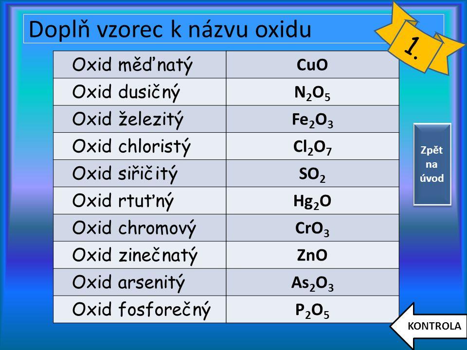 Doplň vzorec k názvu oxidu Oxid měďnatý Oxid dusičný Oxid železitý Oxid chloristý Oxid siřičitý Oxid rtuťný Oxid chromový Oxid zinečnatý Oxid arsenitý Oxid fosforečný CuO N2O5N2O5 Fe 2 O 3 Cl 2 O 7 SO 2 Hg 2 O CrO 3 ZnO As 2 O 3 P2O5P2O5 KONTROLA 1.