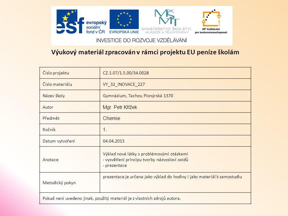 Číslo projektuCZ.1.07/1.5.00/34.0028 Číslo materiáluVY_32_INOVACE_227 Název školyGymnázium, Tachov, Pionýrská 1370 Autor Mgr.