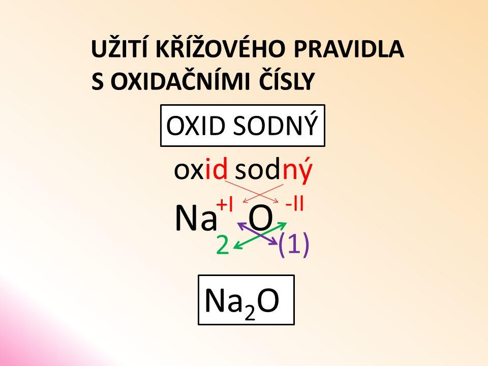 UŽITÍ KŘÍŽOVÉHO PRAVIDLA S OXIDAČNÍMI ČÍSLY OXID SODNÝ oxid O sodný Na (1) 2 Na 2 O -II +I