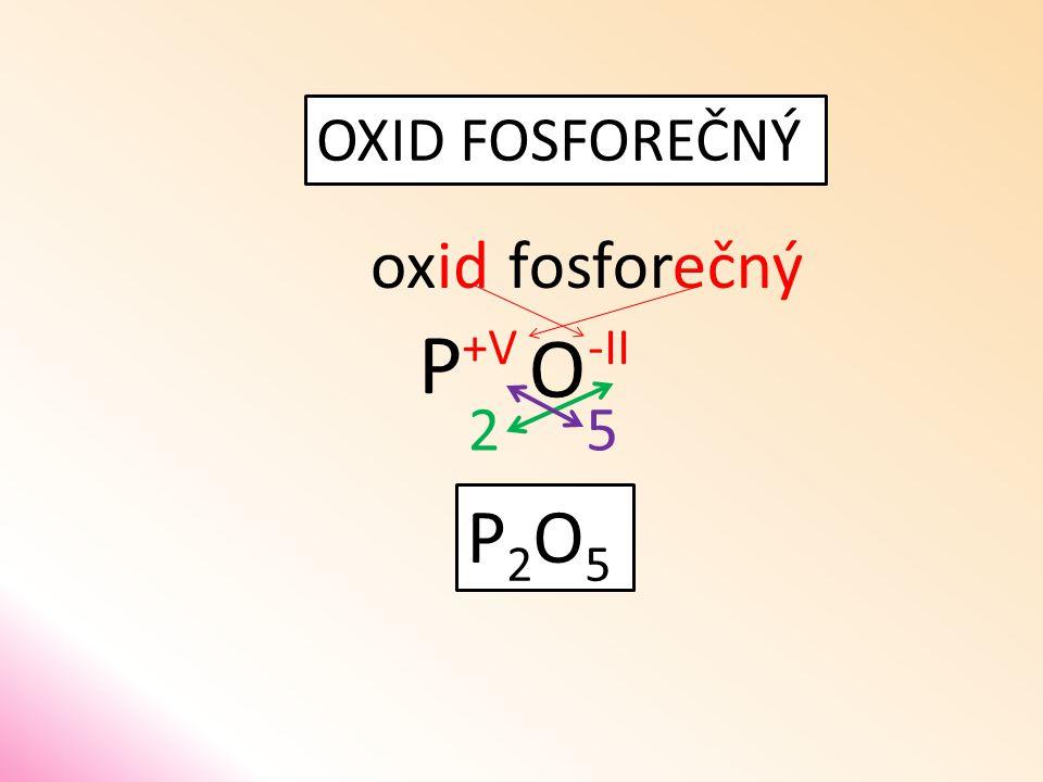 OXID FOSFOREČNÝ oxid O fosforečný P 52 P2O5P2O5 -II+V