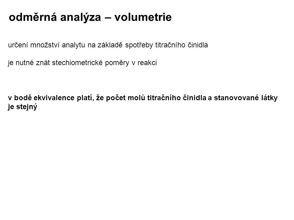 odměrná analýza – volumetrie určení množství analytu na základě spotřeby titračního činidla je nutné znát stechiometrické poměry v reakci v bodě ekviv
