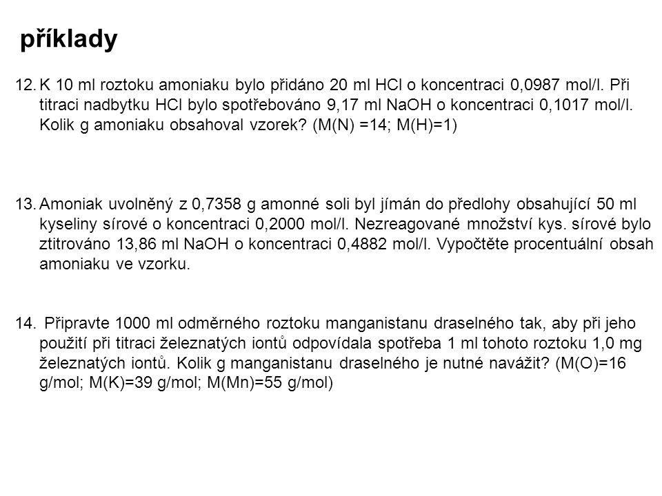 příklady 12.K 10 ml roztoku amoniaku bylo přidáno 20 ml HCl o koncentraci 0,0987 mol/l. Při titraci nadbytku HCl bylo spotřebováno 9,17 ml NaOH o konc