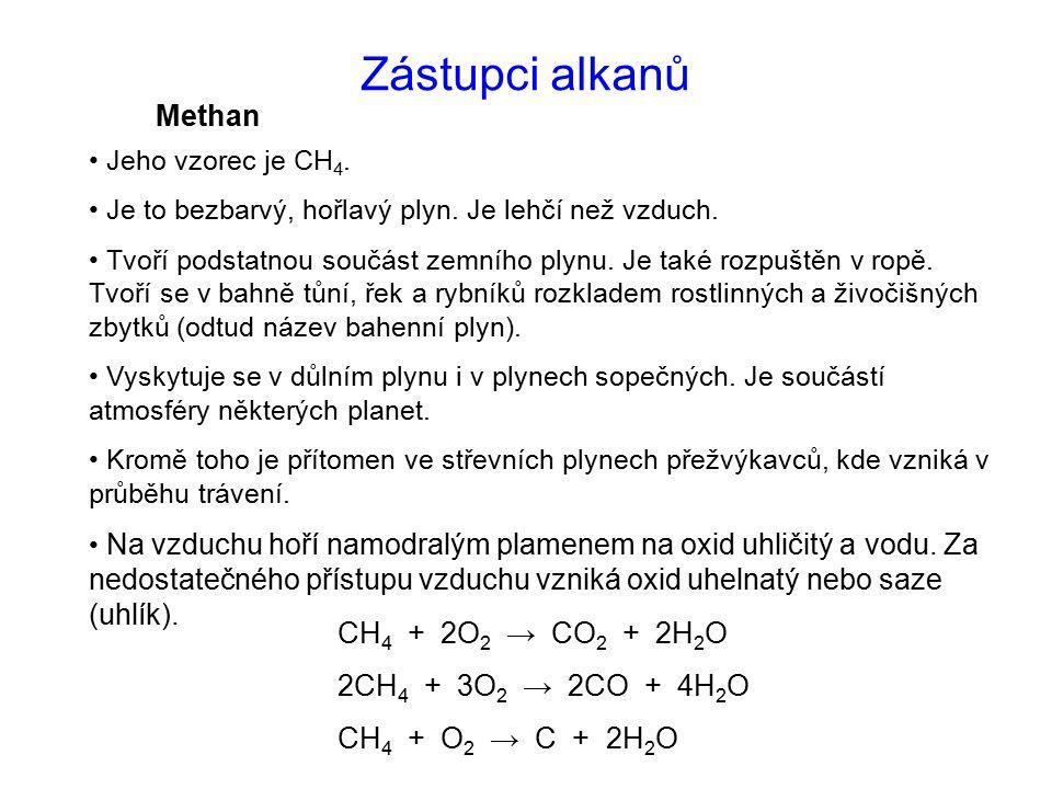 Zástupci alkanů Methan Jeho vzorec je CH 4.Je to bezbarvý, hořlavý plyn.