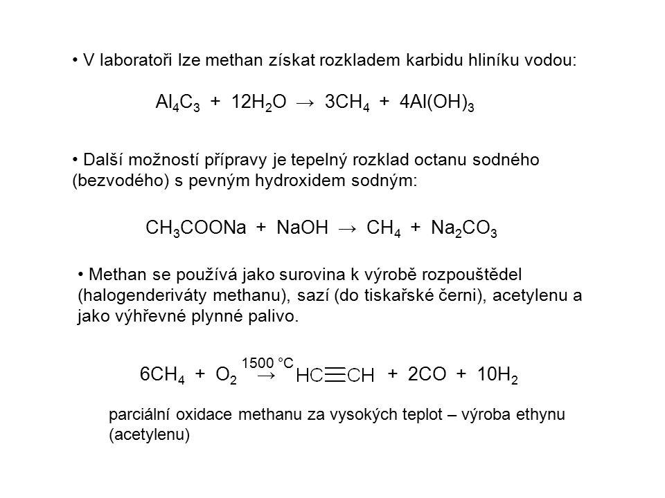 Ethan Jeho vzorec je CH 3 -CH 3 (C 2 H 6 ) Má podobné vlastnosti jako methan i podobné využití.