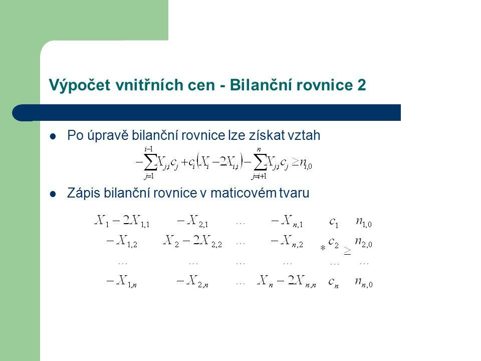 Výpočet vnitřních cen - Bilanční rovnice 2 Po úpravě bilanční rovnice lze získat vztah Zápis bilanční rovnice v maticovém tvaru