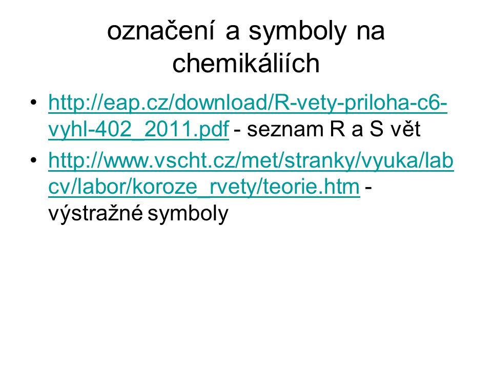 označení a symboly na chemikáliích http://eap.cz/download/R-vety-priloha-c6- vyhl-402_2011.pdf - seznam R a S věthttp://eap.cz/download/R-vety-priloha