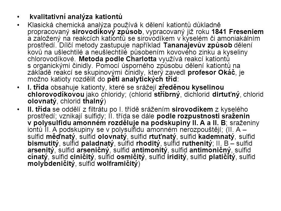 kvalitativní analýza kationtů Klasická chemická analýza používá k dělení kationtů důkladně propracovaný sirovodíkový způsob, vypracovaný již roku 1841
