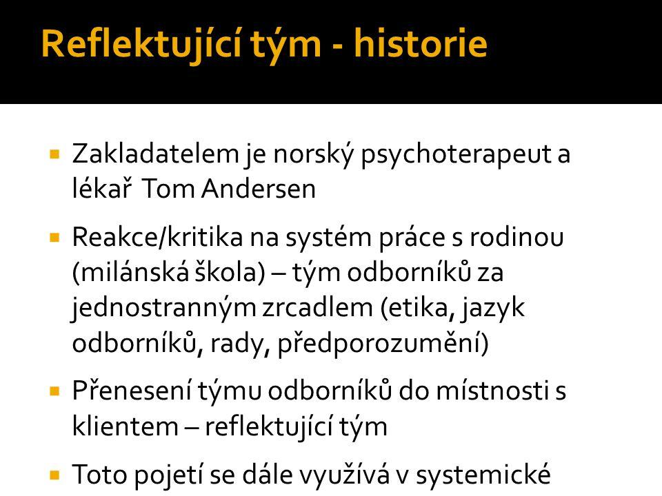 Reflektující tým - historie  Zakladatelem je norský psychoterapeut a lékař Tom Andersen  Reakce/kritika na systém práce s rodinou (milánská škola) –