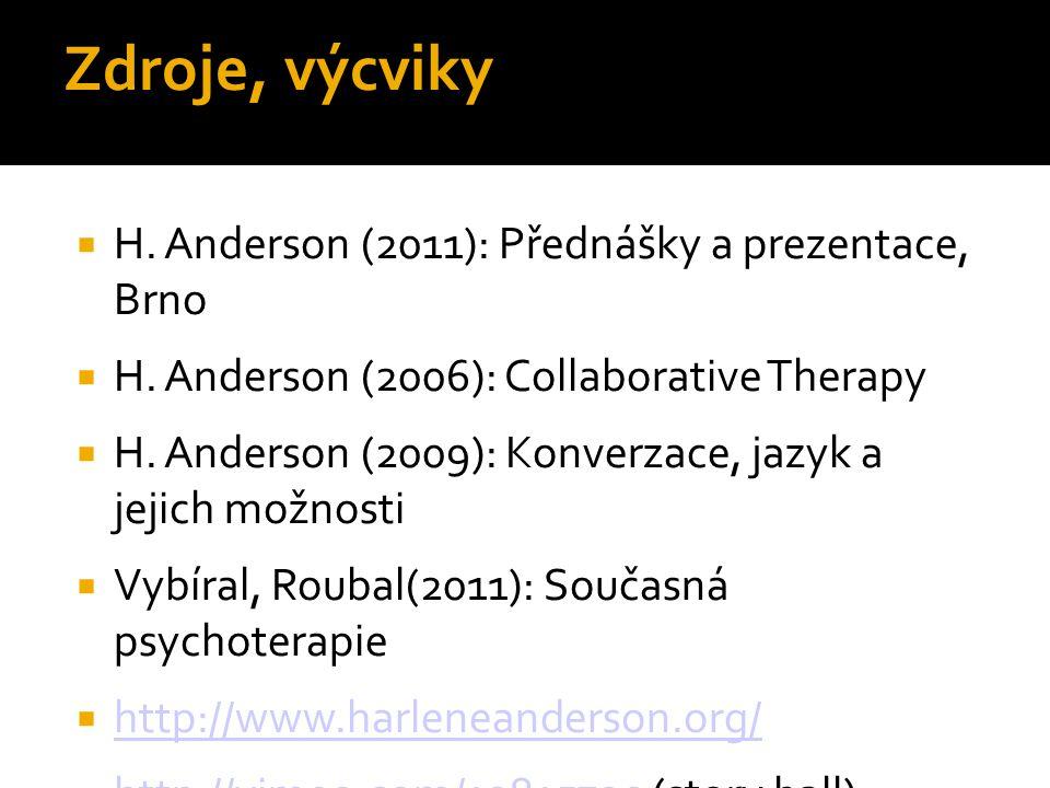 Zdroje, výcviky  H. Anderson (2011): Přednášky a prezentace, Brno  H. Anderson (2006): Collaborative Therapy  H. Anderson (2009): Konverzace, jazyk