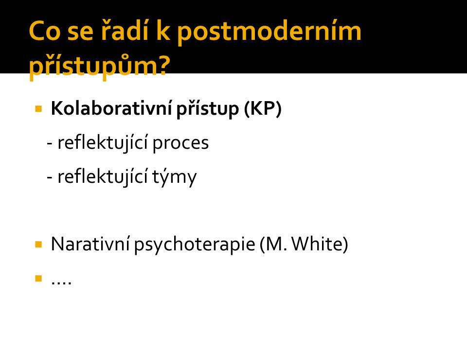 Co se řadí k postmoderním přístupům?  Kolaborativní přístup (KP) - reflektující proces - reflektující týmy  Narativní psychoterapie (M. White)  ….