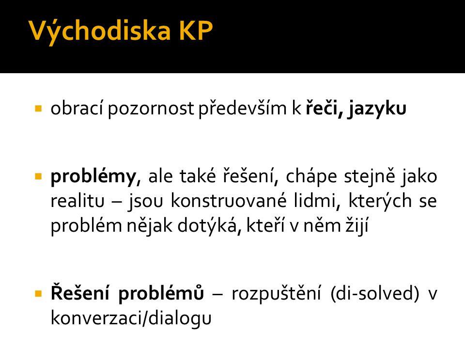 Východiska KP  obrací pozornost především k řeči, jazyku  problémy, ale také řešení, chápe stejně jako realitu – jsou konstruované lidmi, kterých se