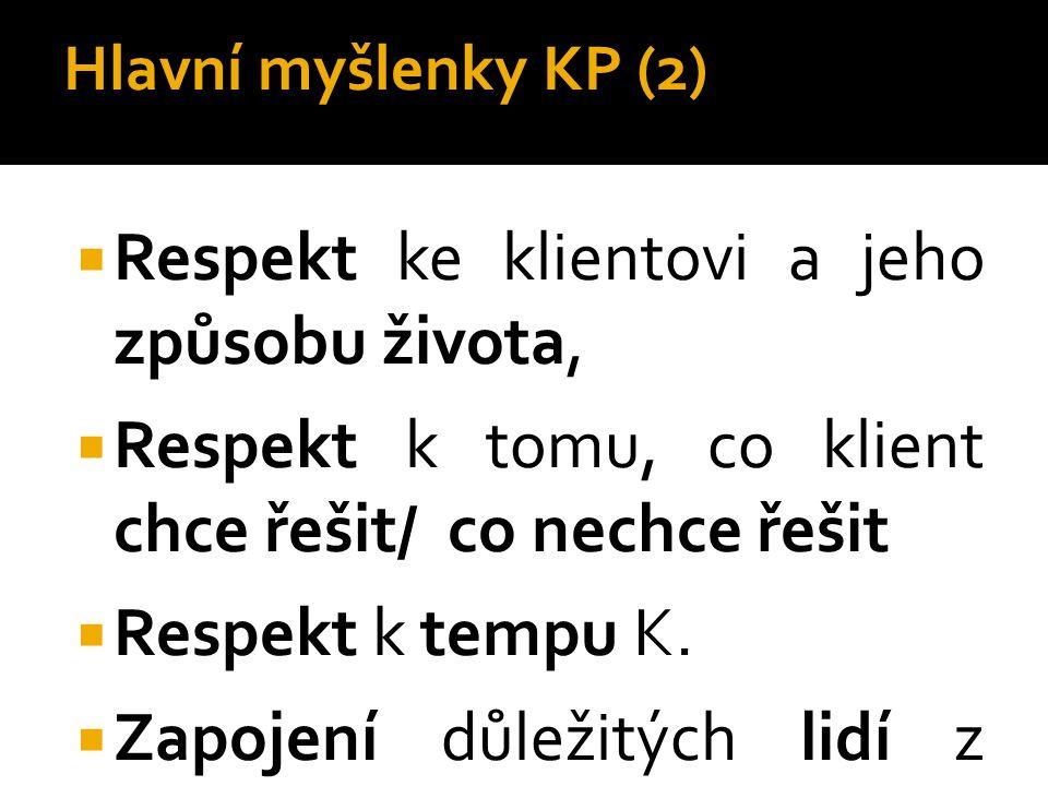 Hlavní myšlenky KP (2)  Respekt ke klientovi a jeho způsobu života,  Respekt k tomu, co klient chce řešit/ co nechce řešit  Respekt k tempu K.  Za